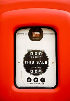 Close Up Of Vintage Gas Pump Royalty Free Stock Photo
