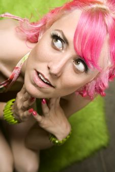 Free Pretty Woman With Pink Hair Stock Images - 5964524