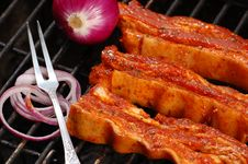Free Grilled Bacon With Onion Stock Photo - 5964760