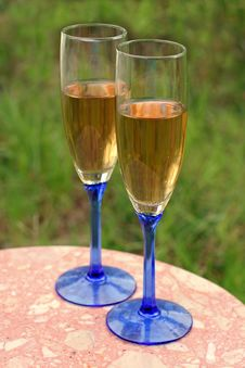 Two Glasses Of White Wine Outdoors Royalty Free Stock Photo