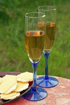 Glasses White Wine, Cheese, Crackers Royalty Free Stock Photo