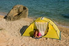 Free Woman In Tent At Sand Sea Beach Stock Photography - 5965042
