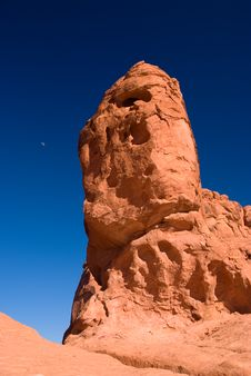 Free Red Rock With Moon Under Blue Sky Stock Image - 5965511