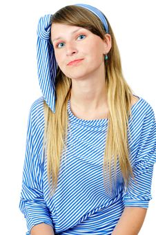 Free A Pretty Girl In Stripy Clothes Stock Photo - 5966440