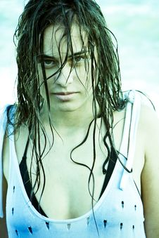 Wet Hair Woman Stock Photography