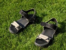 Free Sandals On The Grass Stock Images - 5968444
