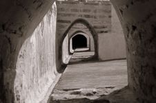 Arches Under Stairs Royalty Free Stock Images