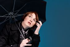 Free Red Head And Umbrella Royalty Free Stock Photo - 5969025