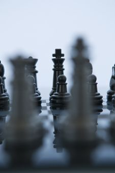 Two King Chess Pieces Facing Off Stock Image