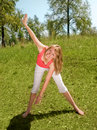 Free Young Girl Works Out In The Park Stock Image - 5977481