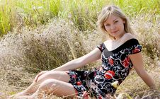 Free Beautiful Young Girl On Summer Meadow Stock Images - 5971054