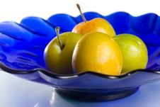Free Group Of Plums On Blue Plate Royalty Free Stock Photo - 5971575