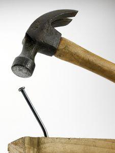 Hammer And Bent Nail Royalty Free Stock Photo