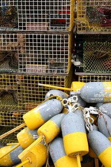 Free Lobster Traps And Buoys Stock Photos - 5973783