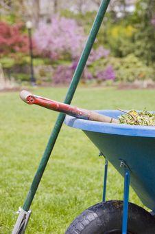 Free Wheelbarrow And  Rake Royalty Free Stock Photography - 5975047