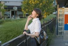 Free Woman Laughing On Cellular Phone - Horizontal Stock Photos - 5975143