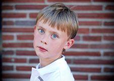 Free Boy Standing Against Brick Wall - Horizontal Royalty Free Stock Photos - 5975418