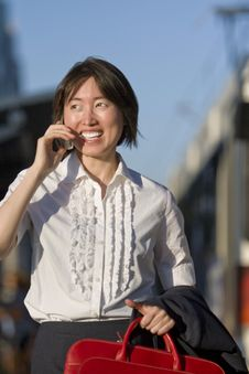 Free Woman Talking On A Cell Phone - Vertictal Stock Photography - 5975472