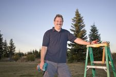 Free Man With Ladder - Horizontal Stock Photography - 5975522