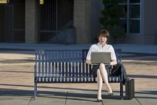 Free Woman Looking At Her Laptop - Horizontal Royalty Free Stock Photo - 5975525