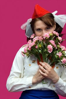 Free The Pioneer With Flower On A Pink Background Royalty Free Stock Photography - 5975687