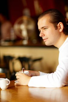 Free Young Man And Cup Of Coffee Royalty Free Stock Photo - 5975865