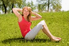 Free Girl Works Out In The Park Royalty Free Stock Photo - 5977355
