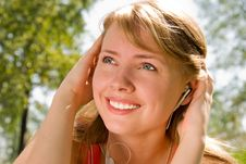 Girl Listening To The Music Stock Photos