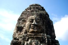 Cambodia Huge Carved Face Royalty Free Stock Photography
