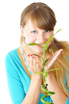 Free Cute Young Girl With A Bamboo Stock Photos - 5978283