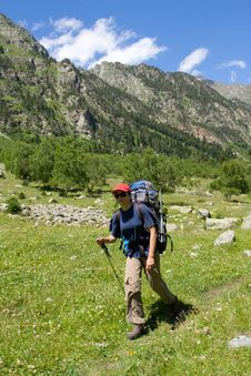 Free Backpacker Girl Walking In Mountains Royalty Free Stock Images - 5979629