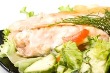 Free Stake From A Salmon With Vegetables Stock Photography - 5979912