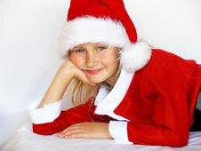 Free Smiling Girl In Santa Hat Stock Photography - 5980612