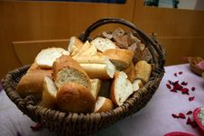 Baguette In A Basket Stock Images