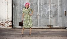 Free Woman With Pink Hair And A Small Siuitcase Royalty Free Stock Images - 5983459