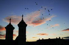 Free Sunset, Birds And Church Royalty Free Stock Photos - 5984038