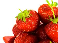 Free Strawberry On Red Plate Stock Images - 5984614