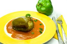 Stuffed Pepper With Tomato Sauce Stock Photo