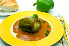 Stuffed Pepper With Tomato Sauce Stock Image