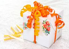 Free Beautiful Gift Box On Lace Stock Photography - 5984722