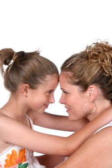Free Mother And Daughter With Foreheads Touching Royalty Free Stock Photos - 5985038