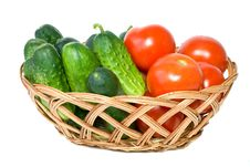 Free Wicker Basket With Some Tomatoes And Cucumbers Stock Photography - 5986502