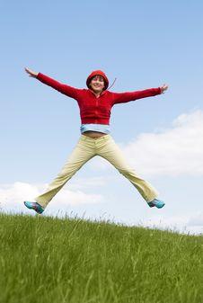 Free Happy Jumping Girl Stock Photo - 5986630