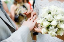 Close-up Of Newly-married Putting On Rings Royalty Free Stock Photography