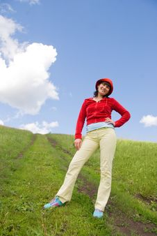 Girl Standing On The Hill Royalty Free Stock Images