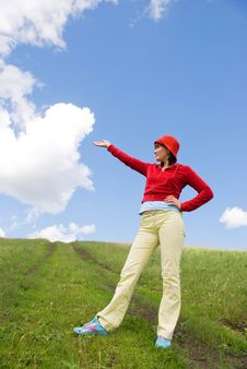 Girl On The Top Of The Hill Stock Image