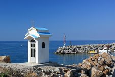 Tiny Chapel Over The Port Entrance Royalty Free Stock Image