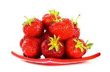 Free Strawberry On Red Plate Stock Images - 5987544