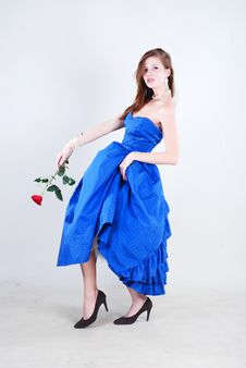 Free Woman In Blue Dress Royalty Free Stock Image - 5987866