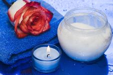 Free Cream, Candle With Rose Royalty Free Stock Photo - 5987925